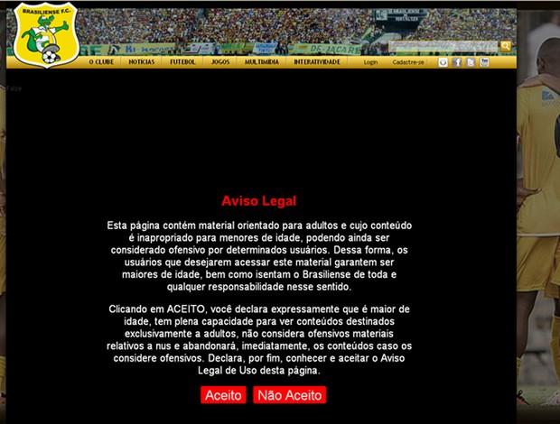 print site musa brasiliense (Foto: Divulgação/Site Oficial Brasiliense)