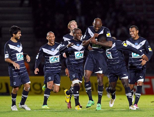 Jogadores gol Bordeaux (Foto: AFP)