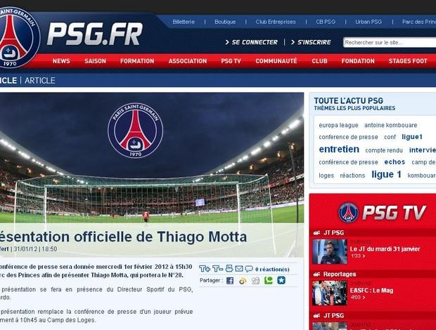 Site oficial do PSg confirma contratação de Thiago Motta (Foto: Reprodução/Site Oficial PSG)