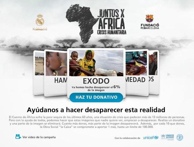 Site campanha fome Real Barça (Foto: Reprodução/Site JuntosxAfrica)