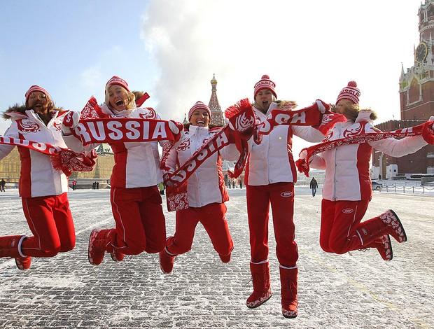 Maria Sharapova e a equipa da Rússia de tênis (Foto: AFP)