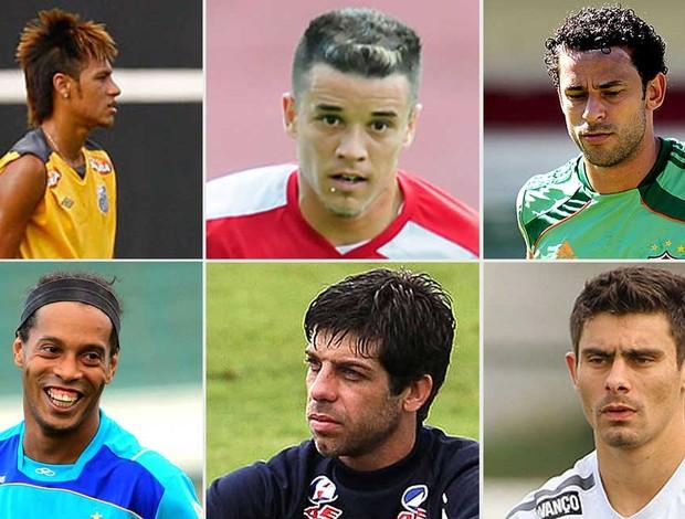 Neymar, D'Alessandro, Fred, Ronaldinho Gaúcho, Juninho   Alex  libertadores (Foto: Editoria de Arte/Globoesporte.com)