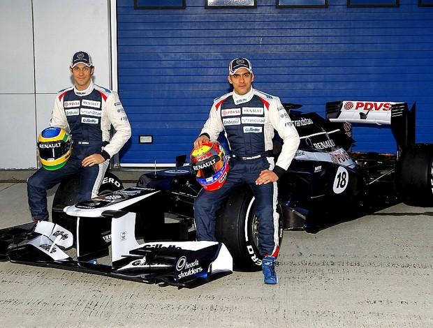 Bruno Senna e Pastor Maldonado com a nova Williams FW34 em Jerez de la Frontera (Foto: Divulgação/Williams)