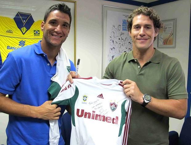 Flavio Canto e Thiago Neves durante programa (Foto: Rafael Cavalieri / GLOBOESPORTE.COM)