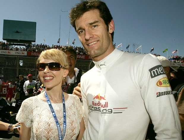Kylie Minogue e Mark Webber no GP da Austrália (Foto: Getty Images)