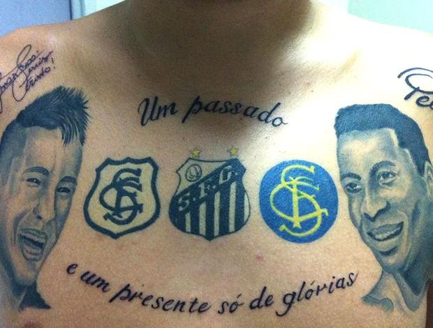 torcedor com tatuagem de Neymar e Pelé (Foto: Divulgação / Arquivo Pessoal)