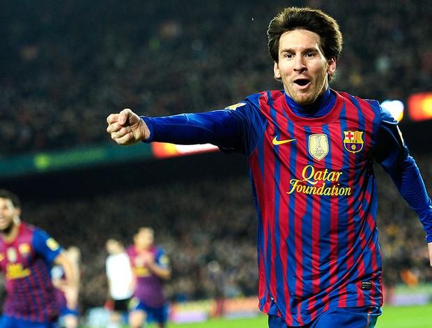 Messi comemora gol do Barcelona contra o Valencia (Foto: AP)