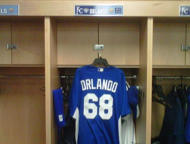 Camisa de Paulo Orlando no vestiário do Kansas City Royals, beisebol (Foto: Arquivo Pessoal)