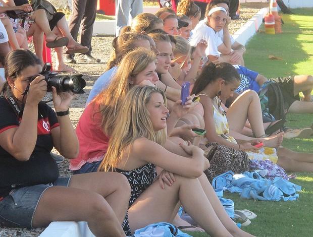 Jogadores de futebol feminino dos Estados Unidos no treino do Flamengo (Foto: Richard Souza / GLOBOESPORTE.COM)
