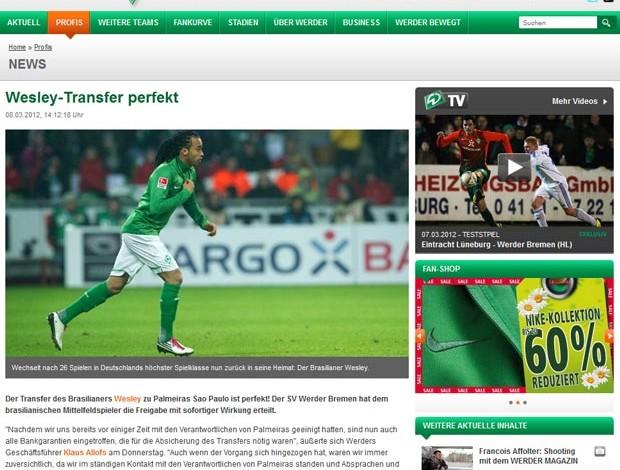 Print página do Werder Bremen (Foto: Site Oficial do Werder Bremen)