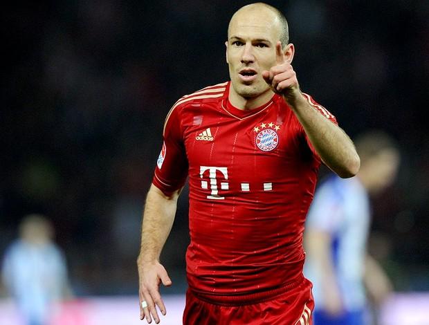 Robben comemora gol do Bayern de Munique contra o Hertha Berlim (Foto: AFP)
