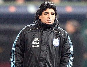Maradona no treino da seleção da argentina