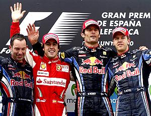 Alonso, Webber e Vettel no pódio do GP da Espanha