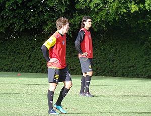 Dagoberto e Fernandão no treino do São paulo