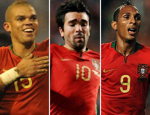 Pepe, Deco e Liedson, jogadores naturalizados portugueses (Foto: Editoria de Arte/Globoesporte.com)