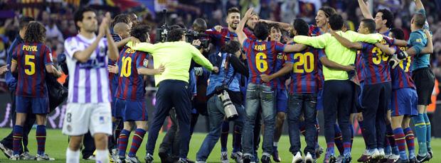 barcelona comemora o título espanhol