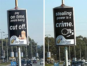 Campanha de Joanesburgo para evitar 'gatos' de luz na cidade
