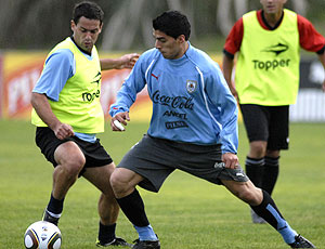 Luis Suarez no treino do Uruguai