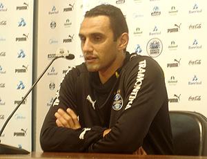 Rafael Marques na coletiva do Grêmio
