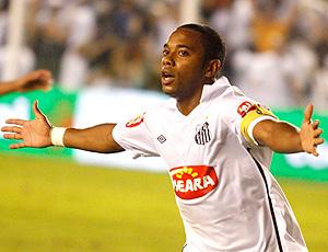 Robinho comemora gol do Santos