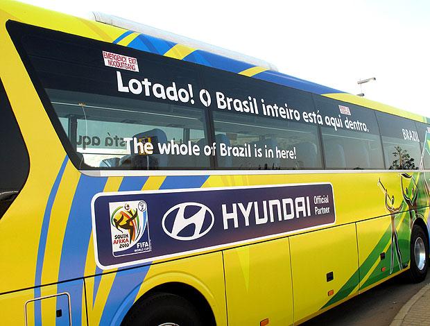 Apresentação do ônibus do Brasil na Copa do Mundo