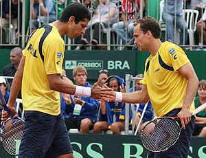 Marcelo Melo eBruno Soares em partida de tênis