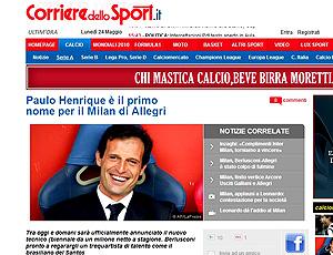 reprodução corriere dello sport ganso na mira do milan
