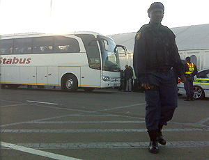 Ônibus da seleção em Joanesburgo