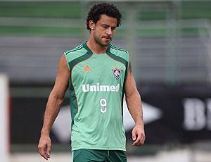 Fred no treino do Fluminense
