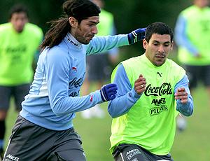 Loco Abreu no treino do Uruguai