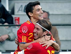 Jesús Navas comemora gol da Espanha