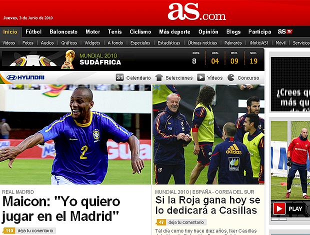 reprodução do jornal AS com Maicon quer jogar no Real Madrid