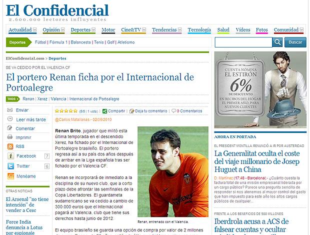 Reprodução do site El Confidencial, Renan