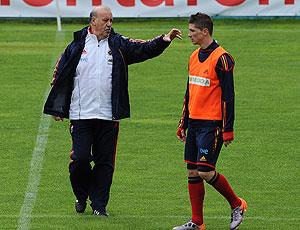 Fernando Torres e Vicente Del Bosque no treino da Espanha