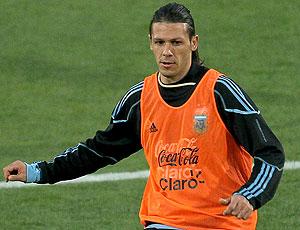 Martin Demichelis no treino da Argentina