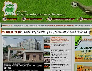 Federação Costa do Marfim com a frase de Drogba