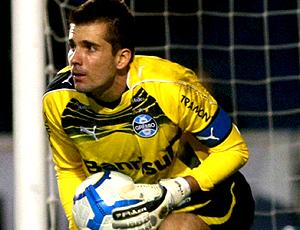 Victor, do Grêmio, em ação contra o Atlético-MG