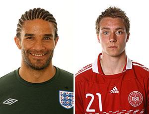 montagem_ David James e Christian Eriksen mais velho e mais jovem  da Copa