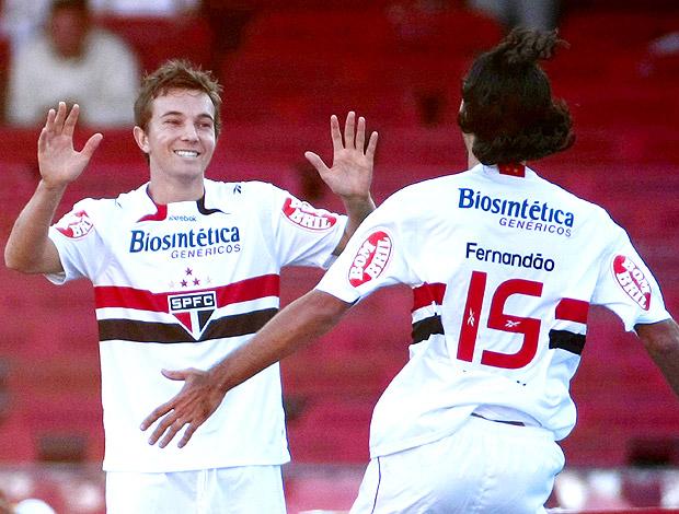 Dagoberto e Fernandão na comemoração do Sâo Paulo