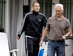 Robben no treino da Holanda após a lesão