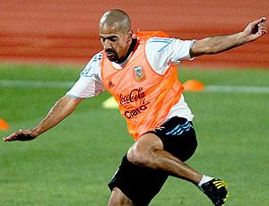 Verón no treino da Argentina