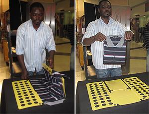 Polokwane  Vendedor ensina o 'dobrador de roupa'