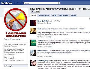 Facebook comunidade contra a vuvuzela Copa