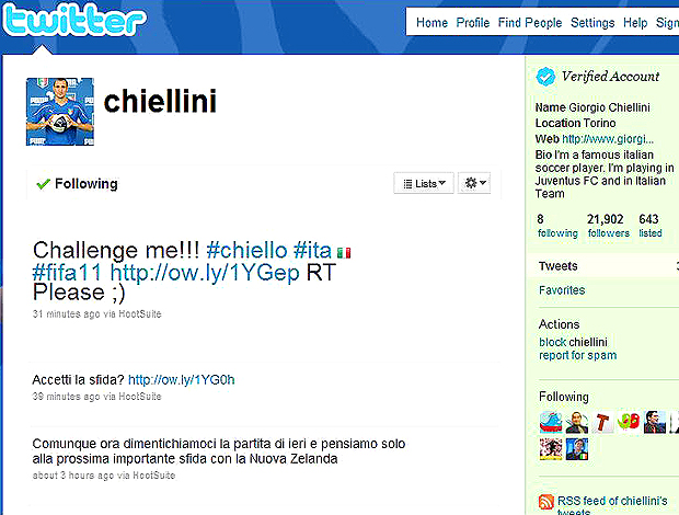 Twitter Chiellini - Itália