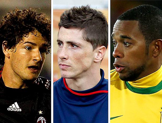 Montagem: Pato, Torres, Robinho