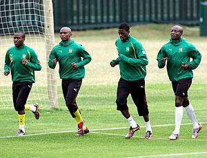 jogadores treino Camarões