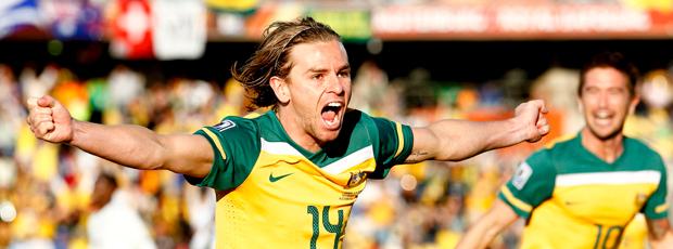 Holman, Austrália comemora gol Gana