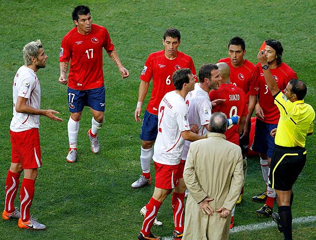 Valon Behrami cartão vermelho Suíça jogo Chile