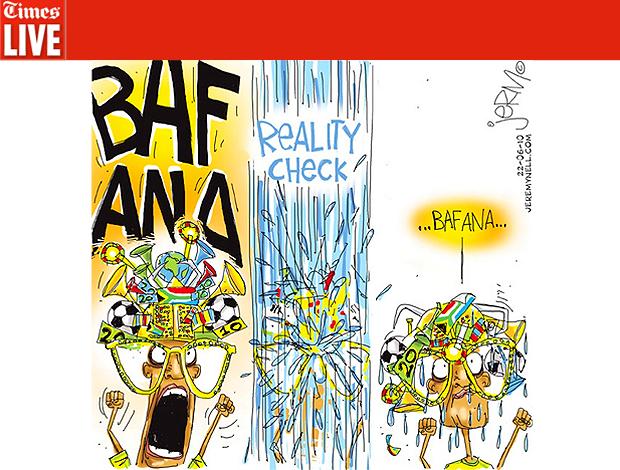 Reprodução charge Times live África do sul bafana bafana