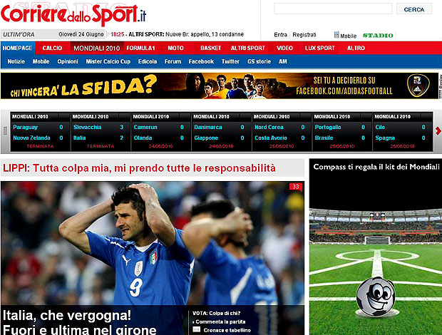derrota Itália jornais